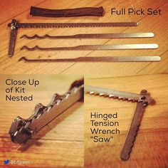 """Regram from Dec 2015 at request of several folks. Tiny hinged tension wrench """"saw"""" - had this idea for a long time finally decided to make it happen. Folds flat and saw is made from a real (coping) saw blade - wickedly sharp. Picks out of @serepick entry card kit. #serepick #bogota #lockpicking #locksport #vigilantgear #escape #sere #lockpicks #edc #open #regram"""