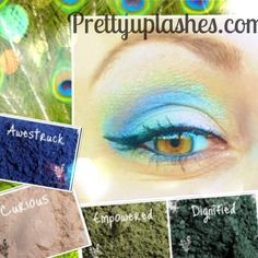 Inspired by the gorgeous peacock pallette. Younique pigments in Awestruck, curious, empowered and dignified. Available individually or a collection at prettyuplashes.com
