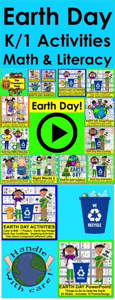 Earth Day activities for K/1:  Earth Day Graphing, Earth Day PowerPoint, Earth Day Readers, Earth Day Pledge, Earth Day Certificate, Earth Day Math and more!