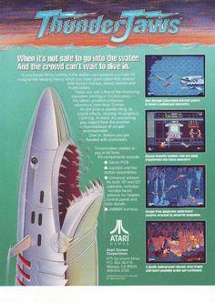 Atari THUNDER JAWS Original 1991 NOS Video Arcade Game Promo Sales Flyer Artwork…