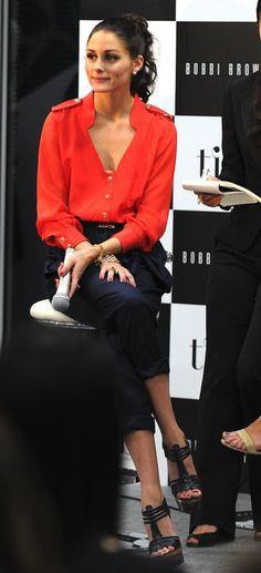 Red blouse Nava pants