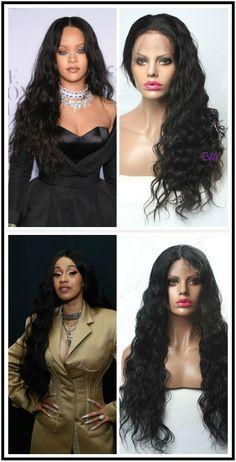 Rihanna inspired 360 lace wig $289 and Cardi B inspired lace front wig $255 #humanhairwig #rihanna #cardib #wavy #hair #wig #wiginspiration