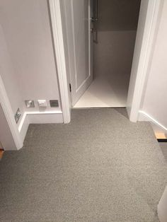 Client: Private Residence In North London Brief: To supply & install grey stair carpet with black border to stairs Grey Stair Carpet, Carpet Stairs, Stairway Lighting, Hall Flooring, North London, Carpet Runner, Stairways, Foyer, Floors