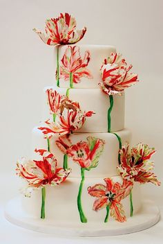 20 Hand-Painted Wedding Cakes That Will Make You Do a Double Take via Brit Co Gorgeous Cakes, Pretty Cakes, Amazing Cakes, Bolo Floral, Floral Cake, Tulip Cake, Bolo Glamour, Wedding Cake Designs, Wedding Cakes