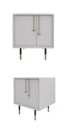 Modern style bedside cabinet, white,W600*D450*H550, birch, metal.#Storage#White   现代风格床头柜,白色系,W600*D450*H550 ,桦木,金属
