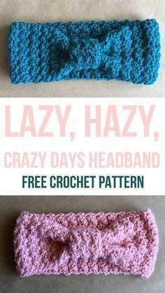Lazy Hazy Crazy Days Headband - Free Crochet Pattern from Kaite's Crochet, A Modern Crochet Blog