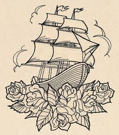 Thread Tattoos - Ship and Roses | Urban Threads: Unique and Awesome Embroidery Designs