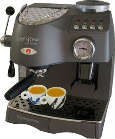 Espressione Café Roma Deluxe Espresso Machine with Built-in Grinder, Anthracite Grey