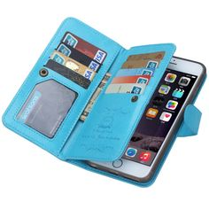 iPhone 6 Plus Wallet Leather Case with Stand Function and 9 Credit Card holders
