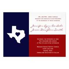 40% OFF when you order 100+ Invites. Texas Themed Wedding Invitations Red White Blue Texas Flag Theme. http://www.zazzle.com/texas_themed_wedding_invitations_red_white_blue-161855296838127954?rf=238133515809110851