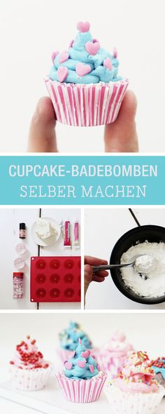 DIY für selbstgemachte Badebomben in Cupcake-Form / craft homemade bath bombs in shape of cupcakes via DaWanda.com