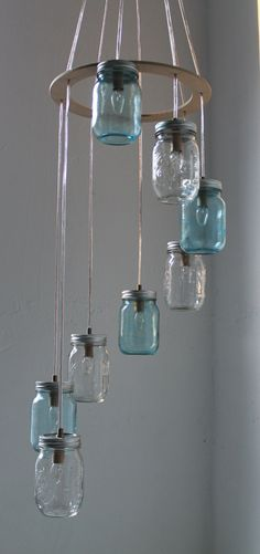 Mason Jar Light Chandelier Pendant Ceiling 7 Jars VINTAGE Look Jar