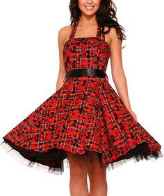 Another great find on #zulily! Black & Red Tartan Halter Dress - Plus Too #zulilyfinds