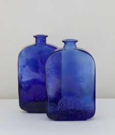 Pair of Vintage Rustic Cobalt Blue Glass Bottles