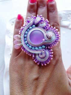 Soutache ring lilac sky glamour fashion party by mysweetcrochet