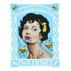 Miss Kiwiana by Lester Hall for Sale - New Zealand Art Prints Nz Art, Art For Art Sake, Maori Designs, New Zealand Art, Maori Art, Kiwiana, Stamp Printing, Fine Art Paper, Design Art