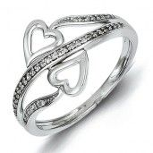 Sterling Silver Rhodium Plated Diamond Hearts Ring - Promise Ring