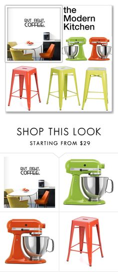 """""""The Modern Kitchen"""" by overstock ❤ liked on Polyvore featuring interior, interiors, interior design, home, home decor, interior decorating, KitchenAid, I Love Living, kitchen and modern"""