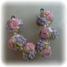 BLISS Roses and Wisteria on Ivory Lampwork Bead Set