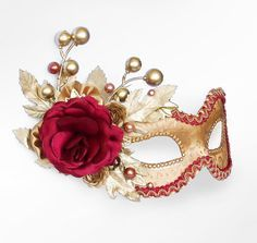 Autumn Themed Burgundy And Gold Masquerade Mask by http://www.shopprice.com.au/masquerade+masks