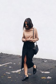 Sweater: elif filyos blogger skirt slit skirt nude nude fall outfits front slit…