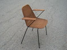 COOL-mid-century-ARTHUR-UMANOFF-Wicker-Wrought-Iron-CHAIR-with-Free-S-H