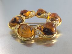SPRiNG CLEaRANCE SaLE,Vintage Amber Jelly  Brooch with Rhinestones Big besurif cabochons with swirls.