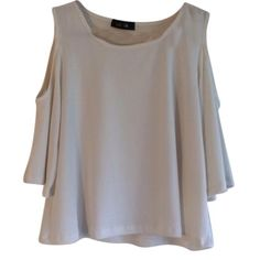 CLOSEOUT SALE off White open shoulder top New without tags stretchy off white tag with open shoulder design! Crop top! Have questions on the size? Ask! I'm happy to provide all measurements! NO TRADES/PAYPAL! Fast shipping! No swaps! Tops