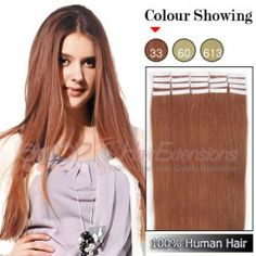 24 Inch 20pcs Tape Premium Remy Human Hair Extensions Straight (#33 Rich Copper Red)