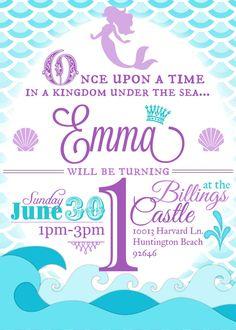 Mermaid Birthday Party Invitation Little Mermaid by MulliganDesign