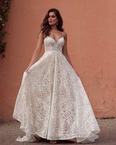Best Wedding Dresses Collections for 2021/2022 ❤ best wedding dresses a line with spaghetti straps summer beach lace madilane #weddingforward #wedding #bride