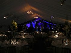 Spotlighting on the table-peices helped them stand out and vivid violet lighting blew the audience away that night.