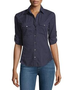 James Perse Contrast-Panel Tab-Sleeve Blouse, True Navy New offer @@@ Price :$145 Price Sale $99