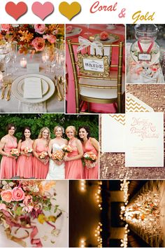 2014 wedding color trends coral wedding ideas and invitations wedding colors coral and gold Coral Gold Weddings, Gold Wedding Colors, Wedding Color Schemes, Wedding Themes, Our Wedding, Dream Wedding, Coral Fall Wedding, Wedding Receptions, Wedding Blog