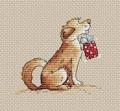 Dog Cross Stitch Pattern Dog with gift Christmas cross stitch Modern Cross Stitch Patterns, Counted Cross Stitch Patterns, Cross Stitch Embroidery, Embroidery Patterns, Hand Embroidery, Cross Stitch Tree, Cross Stitch Heart, Cat Cross Stitches, Crafts