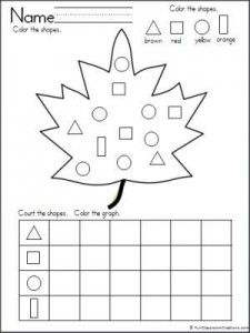 Practice sorting, counting, and graphing shapes with this wonderful fall leaf freebie. Great addition to fall printables for Kindergarten and preschool. by Prek Summergrove Kindergarten Worksheets, Worksheets For Kids, Kindergarten Activities, Graphing Worksheets, Shapes Worksheets, Fall Preschool, Preschool Math, Math Centers, Leaf Shapes