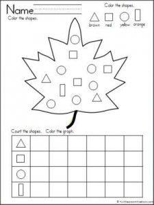 leaf shapes graph worksheet
