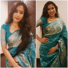 #kanchivaram saree with silver weaves