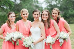 the perfect color coral bridesmaid dresses by http://www.francescas.com |  Photography by loftphotographie.com |  Event Coordination by coordinatethis.com |  Floral Design by petalpushers.us |   Read more - http://www.stylemepretty.com/2013/07/16/austin-wedding-from-loft-photographie/