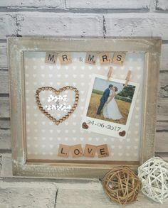 Scrabble Tile Crafts, Puzzle Crafts, Scrabble Frame, Scrabble Art, Frame Crafts, 3d Box Frames, Shadow Box Picture Frames, Deep Frame Ideas, Bachelorette Bride Gifts