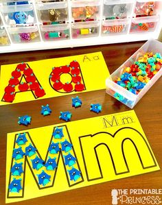 Letter recognition is an important component in PreK and Kindergarten classrooms. Stop by and pick up a FREE letter assessment tool. Plus you'll also find in this post loads of ideas for alphabet practice. Easy and practical activities to help teach your Preschool Literacy, Preschool Letters, Kindergarten Classroom, Kindergarten Activities, Teaching The Alphabet, Learning Letters, Abc Centers, Letter Assessment, Letter Recognition