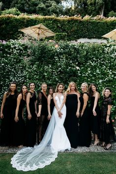 wedding bridesmaids These bridesmaids looked classy + elegant in long black dresses Black Wedding Dresses, Wedding Bridesmaid Dresses, Long Black Bridesmaid Dresses, Black And White Wedding Theme, Classy Wedding Dress, Black Tie Wedding, Bridesmaid Inspiration, Wedding Inspiration, Wedding Ideas