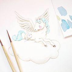 Un pequeño pegaso preparado para volar! #childrensillustration #pegasus #watercolor #watercolorpainting #illustration #childrenswritersguild #watercolour #myartwork #whimsyillos #kidsart #cutedrawing #aidazamora #watercolour_gallery #acuarela #childrensbook #art #watercolorblog   #pegaso #illustratenow #animalillustration #ilustracioninfantil #arts_help #worldofartists #illustrationartist #illustrationwall #instaart #art_we_inspire #artoftheday #horse #illustrationartis