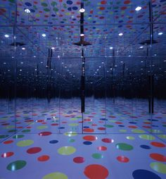Yayoi Kusama, Infinity Dots Mirrored Room, 1996.  Glass, Formica, lights, decals.  Long-term loan to the Mattress Factory, Pittsburgh, PA.