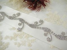 Shine Diamante Crystal Trim Applique Crystal Beads Vines Belt Accent for  Sash Ribbon Wedding Dress Prom Party Gown length customized 3cf0b78e280b