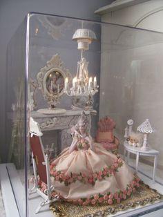 OOAK Vintage Marie Antoinette Half Doll Pin Cushion w Doll House Chandelier