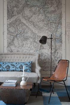 #map wallpaper   #interior  photo credit: Joakim Blockström  found on desiretoinspire