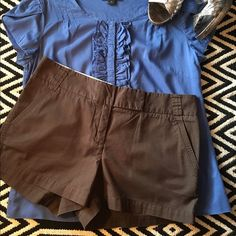 JCrew Brown Chino shorts JCrews shorts. Gently used. 100% cotton. Great condition! Smoke free home. So comfortable and cute! An essential piece in a girls closet. They match with almost every top. Looks amazing with a cute belt and jewelry. Throw a denim jacket or blazer and you're  all set! J. Crew Shorts