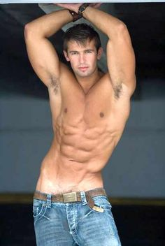 sexy fit men blue jeans six pack abs category male fitness
