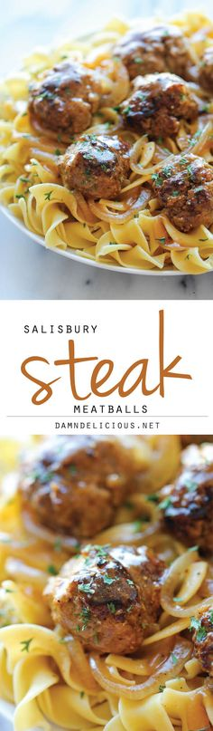 Salisbury Steak Meatballs - An easy, comforting, budget-friendly meal that the whole family will love! You can also make the meatballs ahead of time!